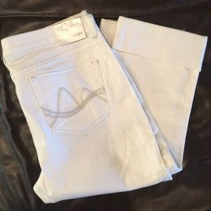 New York & Company Jeans - White Denim Cropped Capris size 14